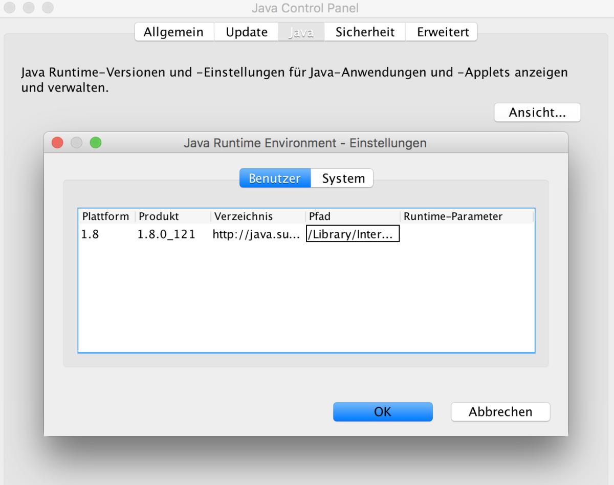 Java Pfad unter Mac